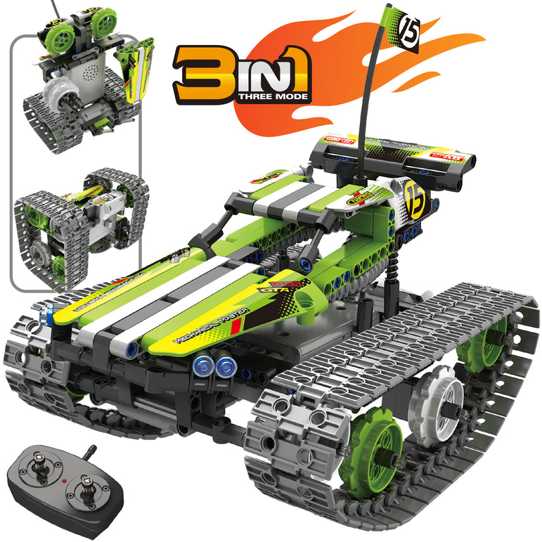 Remote Control Green Track Racer Building Set