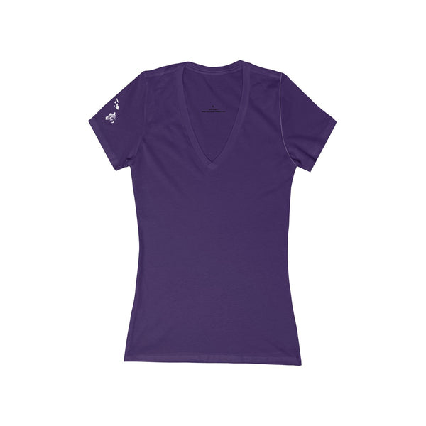 Plain Front, Women's Jersey Short Sleeve Deep V-Neck Tee