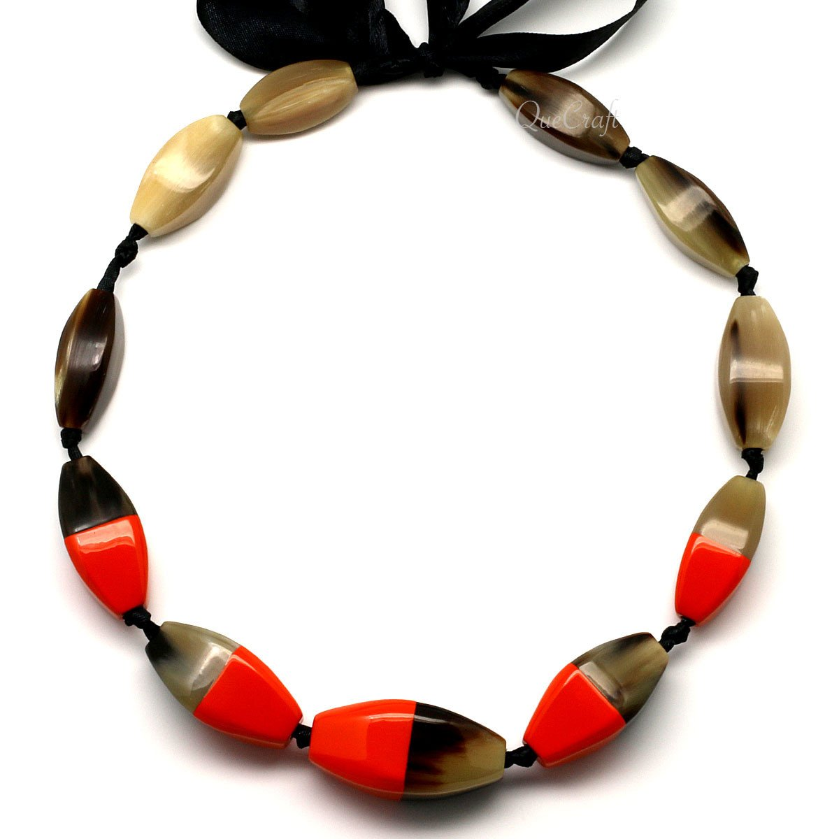 Horn & Lacquer Beaded Necklace #4437 - HORN.JEWELRY