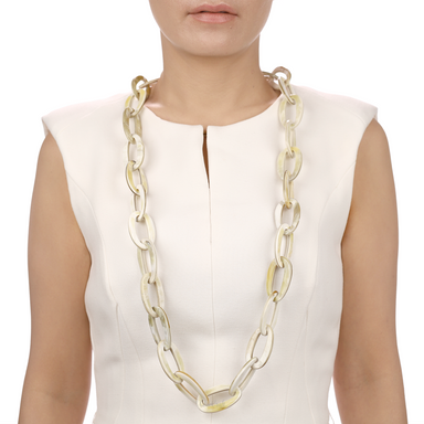 Horn Chain Necklace #13512 - HORN.JEWELRY by QueCraft