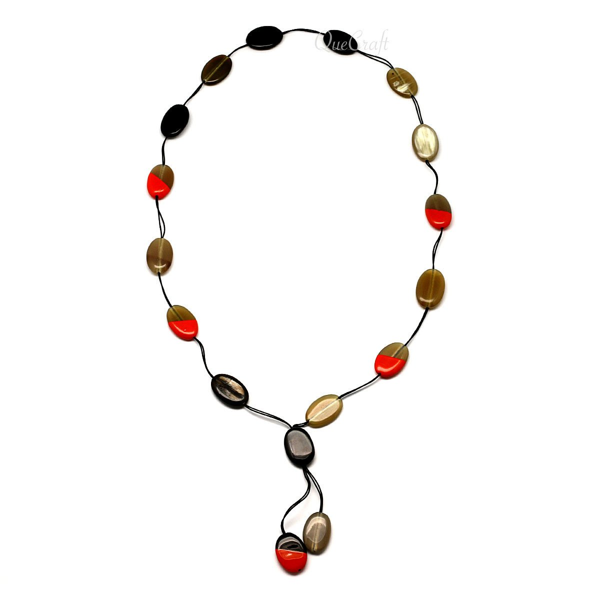 Horn & Lacquer Beaded Necklace #4413 - HORN.JEWELRY by QueCraft