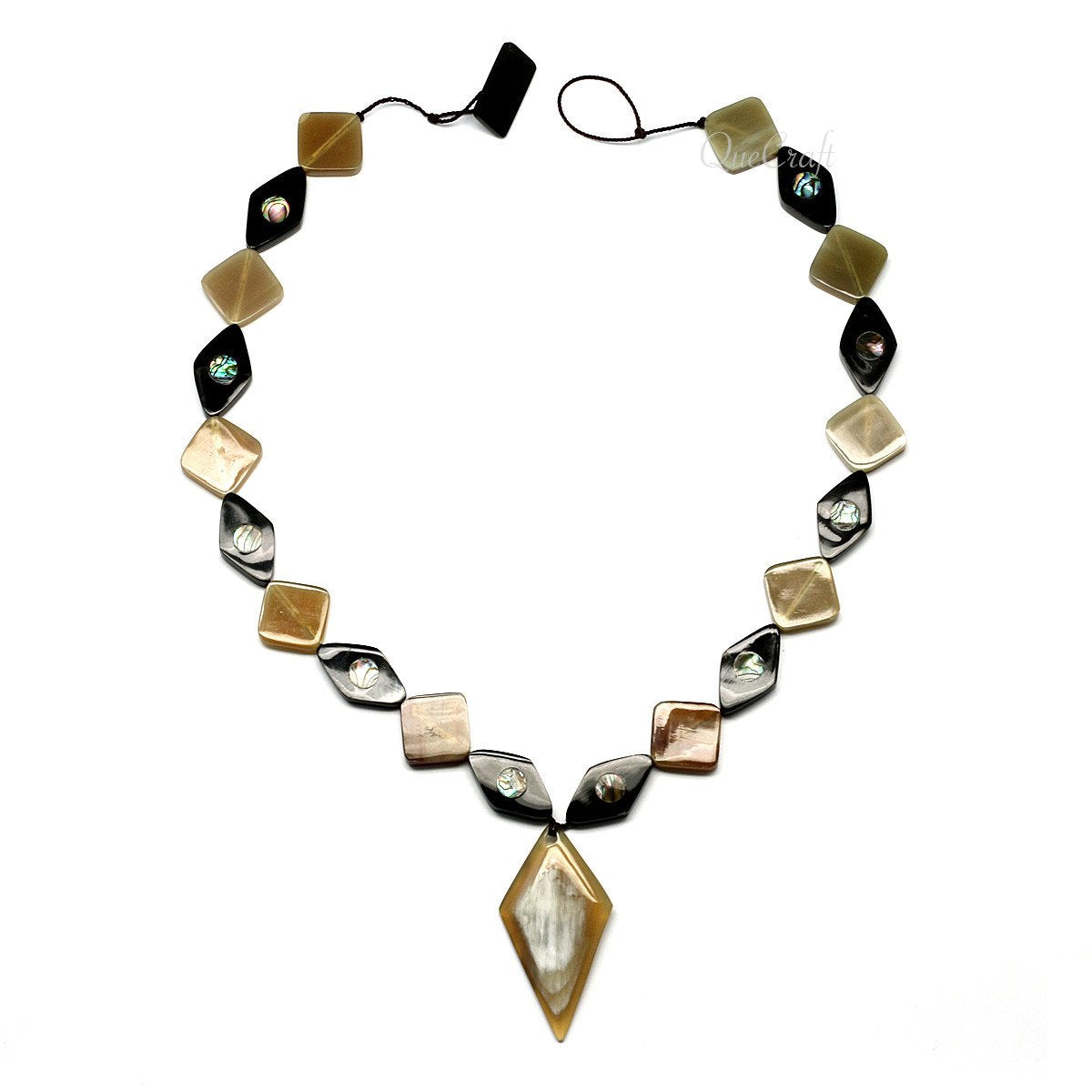 Horn & Abalone String Necklace #9715 - HORN.JEWELRY by QueCraft