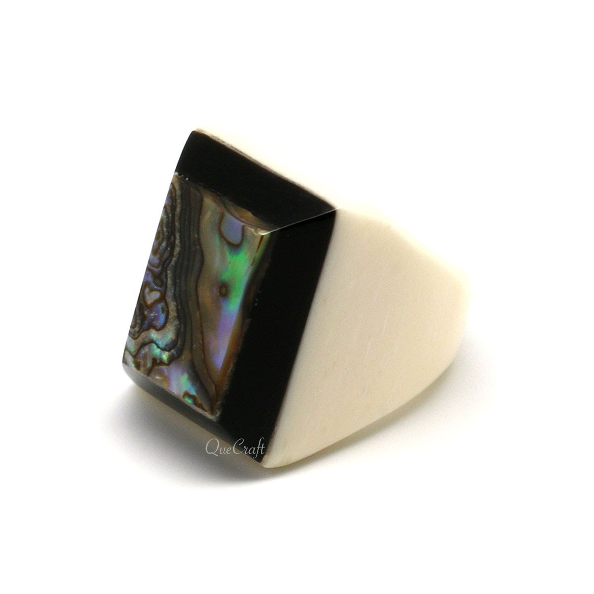 Bone, Horn & Abalone Ring #9793 - HORN.JEWELRY