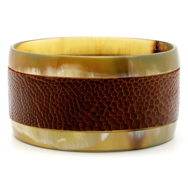 Horn & Leather Bangle Bracelet  #8738 - HORN.JEWELRY