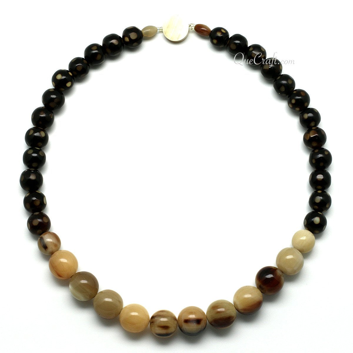 Horn Beaded Necklace #11484 - HORN.JEWELRY by QueCraft