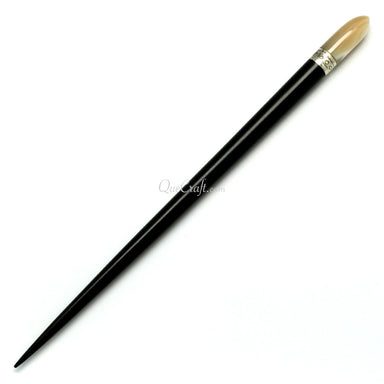 Ebony, Shell & Silver Hair Stick #10748 - HORN.JEWELRY
