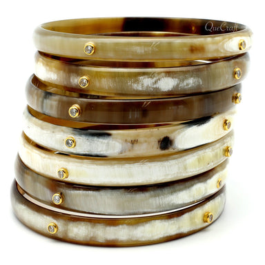 Horn & CZ Bangle Bracelets #9635 - HORN.JEWELRY by QueCraft