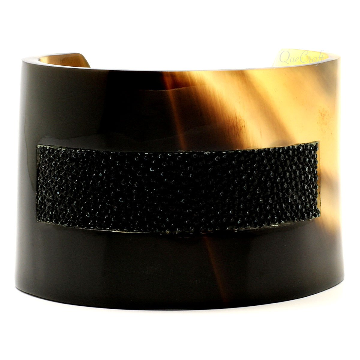 Horn & Leather Cuff Bracelet #6797 - HORN.JEWELRY by QueCraft