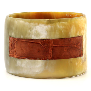 Horn & Leather Bangle Bracelet #8728 - HORN.JEWELRY by QueCraft