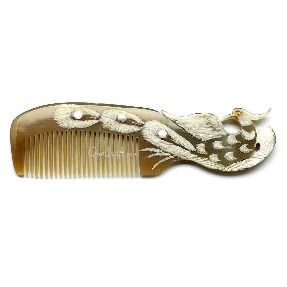 Horn & Shell Hair Comb #10680 - HORN.JEWELRY by QueCraft