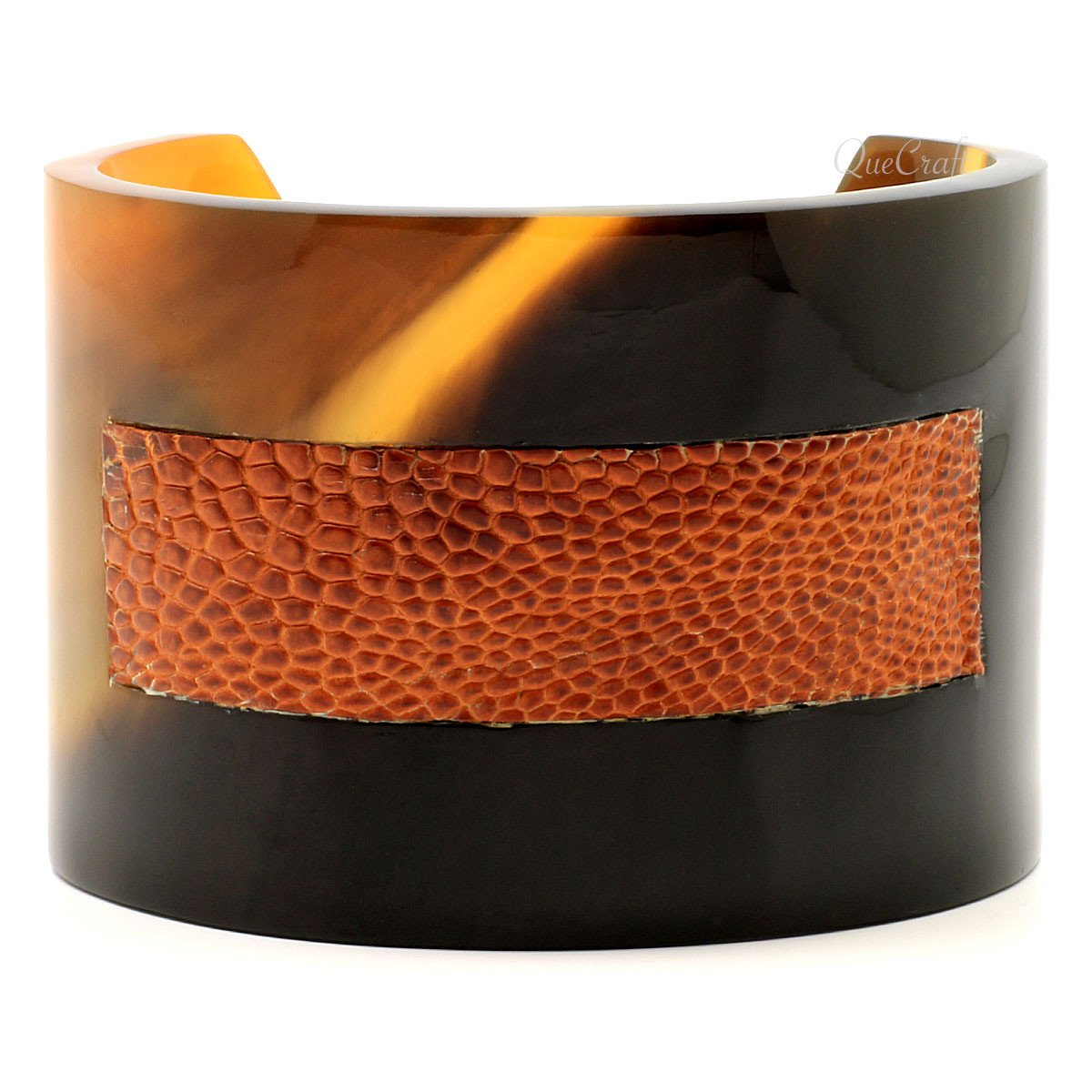 Horn & Leather Cuff Bracelet #6693 - HORN.JEWELRY by QueCraft