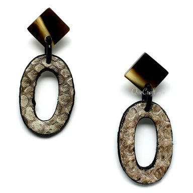 Leather & Horn Earrings - Q11086
