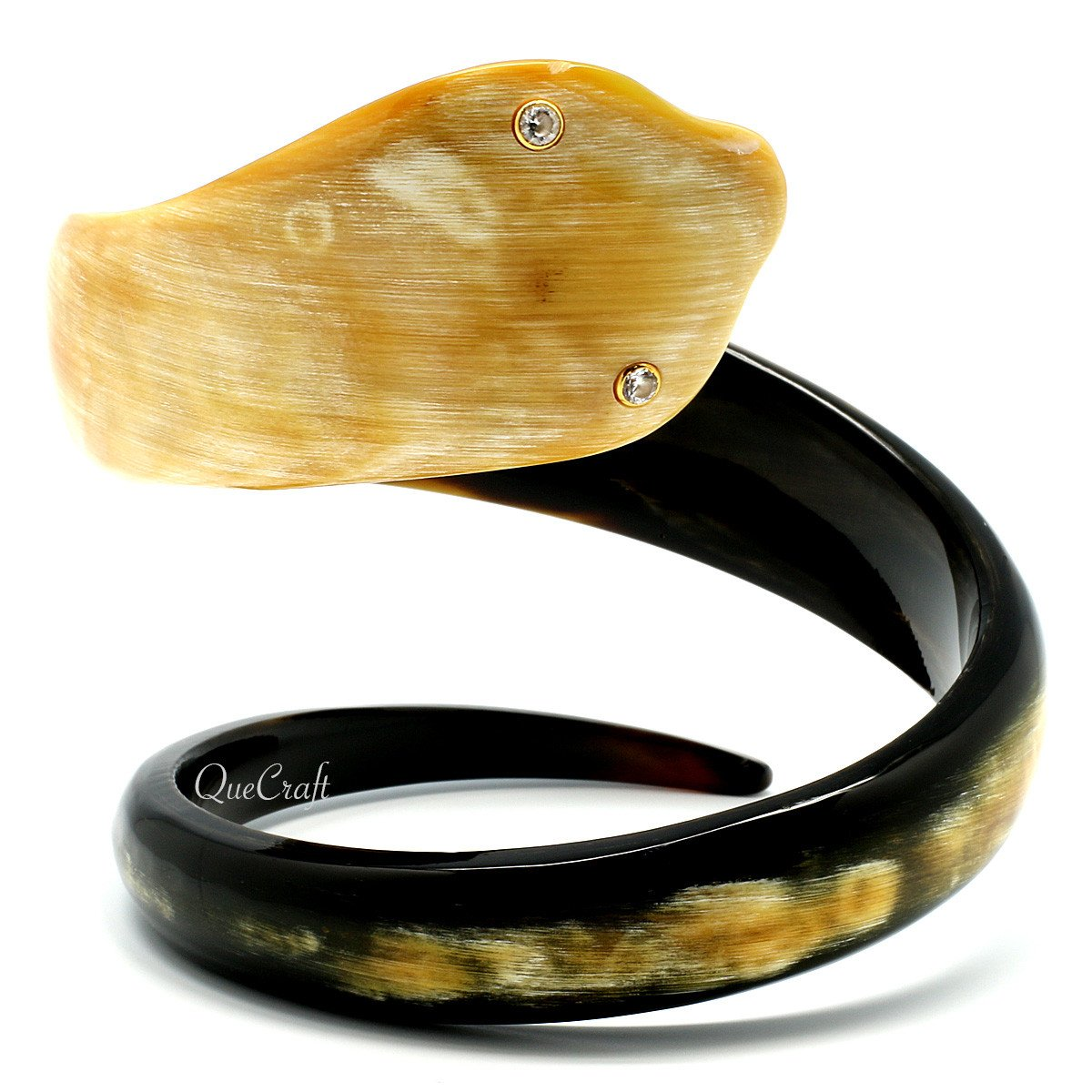 Horn & CZ Bangle Bracelet #10480 - HORN.JEWELRY by QueCraft