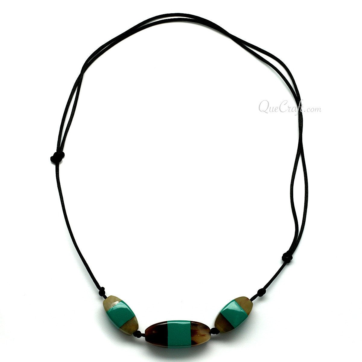 Horn & Lacquer String Necklace #11364 - HORN.JEWELRY by QueCraft