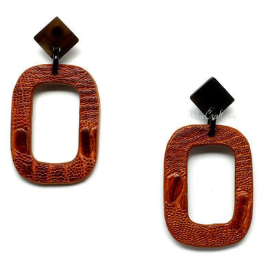 Leather & Horn Earrings - Q11084