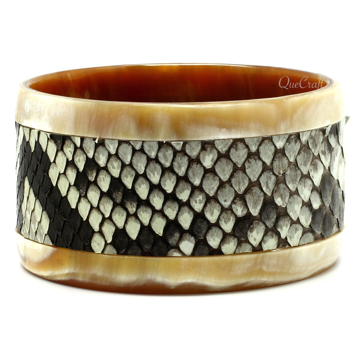 Horn & Leather Bangle Bracelet #9646 - HORN.JEWELRY