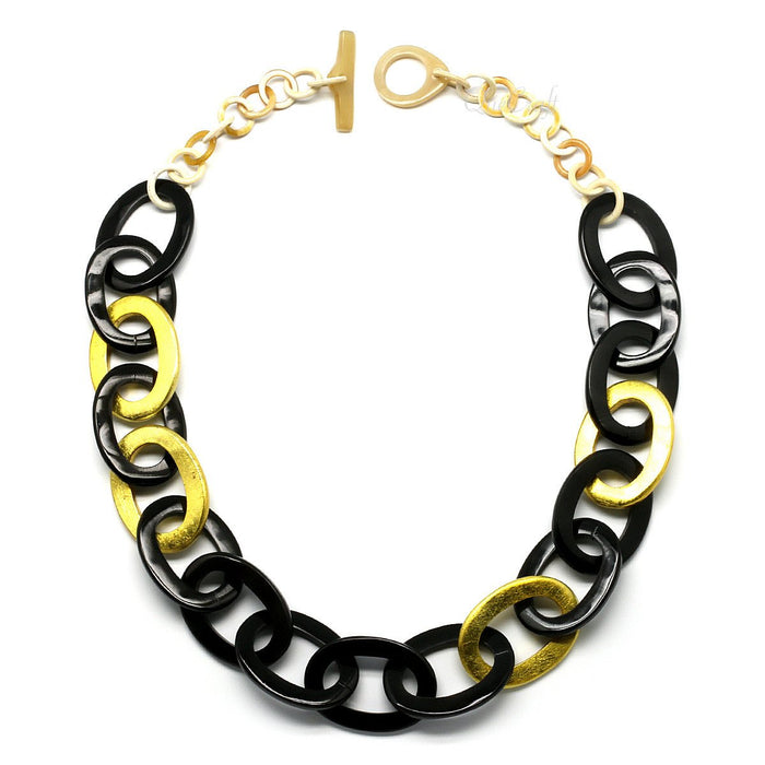 Horn & Lacquer Chain Necklace #9671 - HORN.JEWELRY