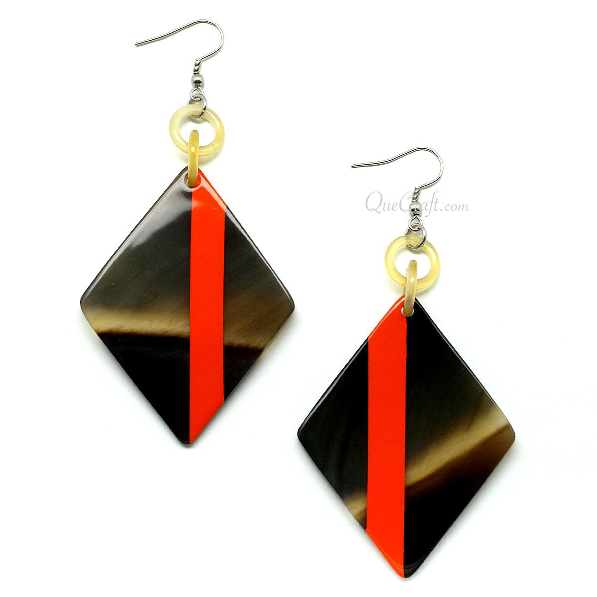 Horn & Lacquer Earrings #11393 - HORN.JEWELRY by QueCraft