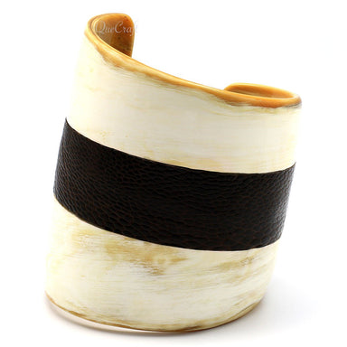 Horn & Leather Cuff Bracelet #5479 - HORN.JEWELRY