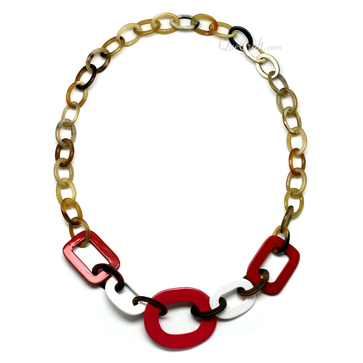 Horn & Lacquer Chain Necklace #11272 - HORN.JEWELRY