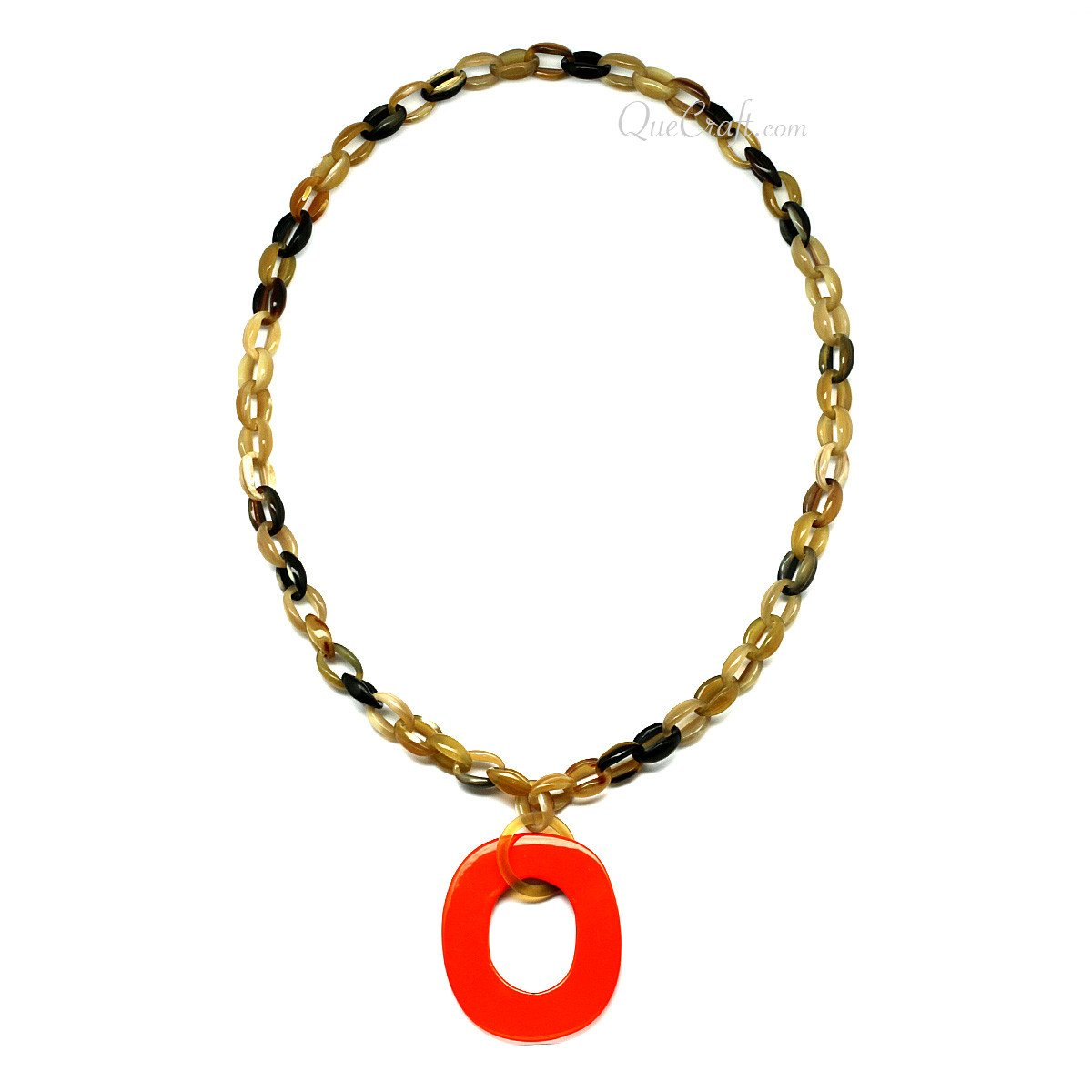 Horn & Lacquer Chain Necklace #10572 - HORN.JEWELRY