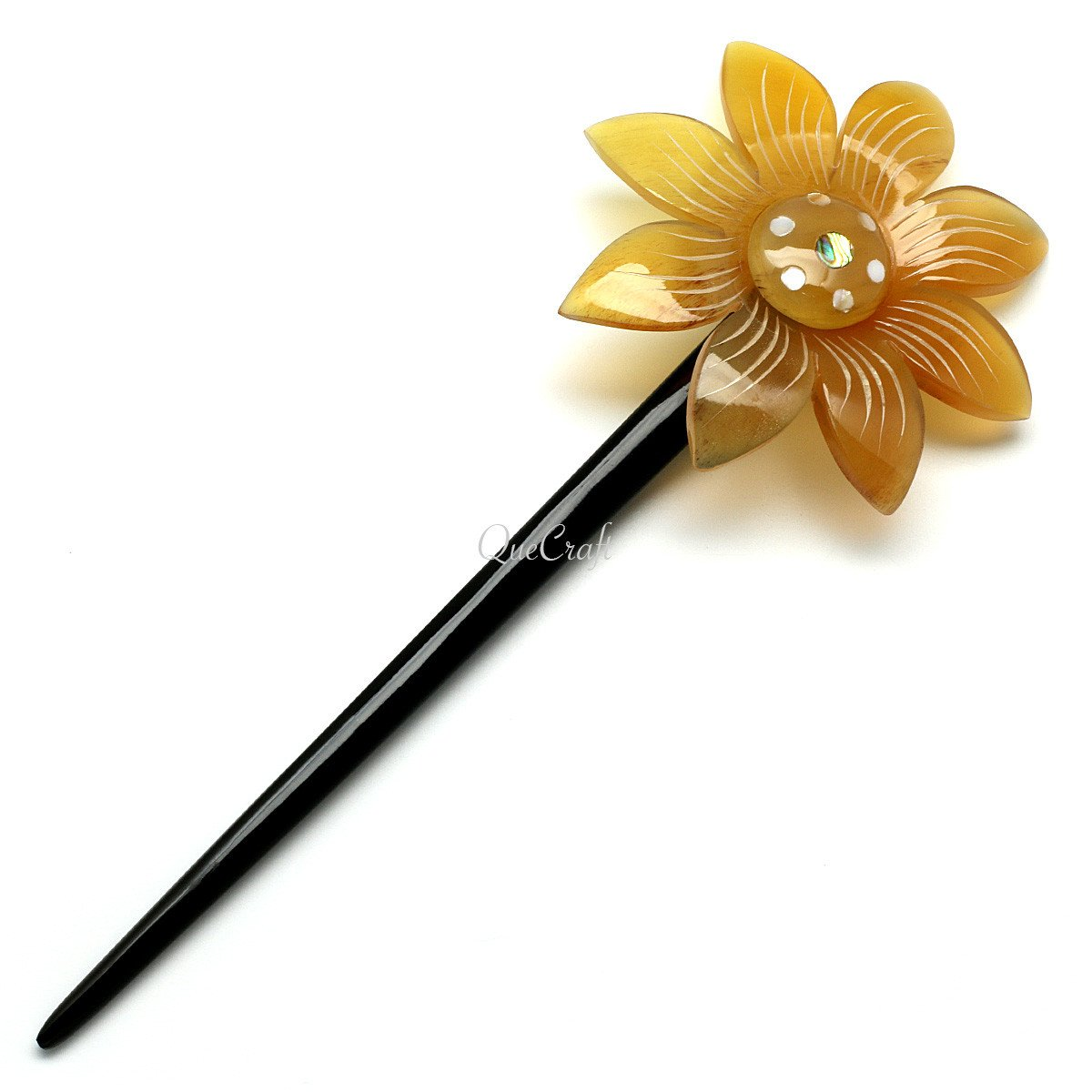 Horn & Shell Hair Stick #10524 - HORN.JEWELRY by QueCraft