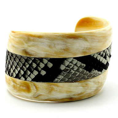 Horn  & Leather Cuff Bracelet #9639 - HORN.JEWELRY