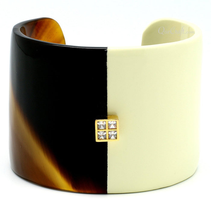 Horn, Lacquer & CZ Cuff Bracelet #6659 - HORN.JEWELRY
