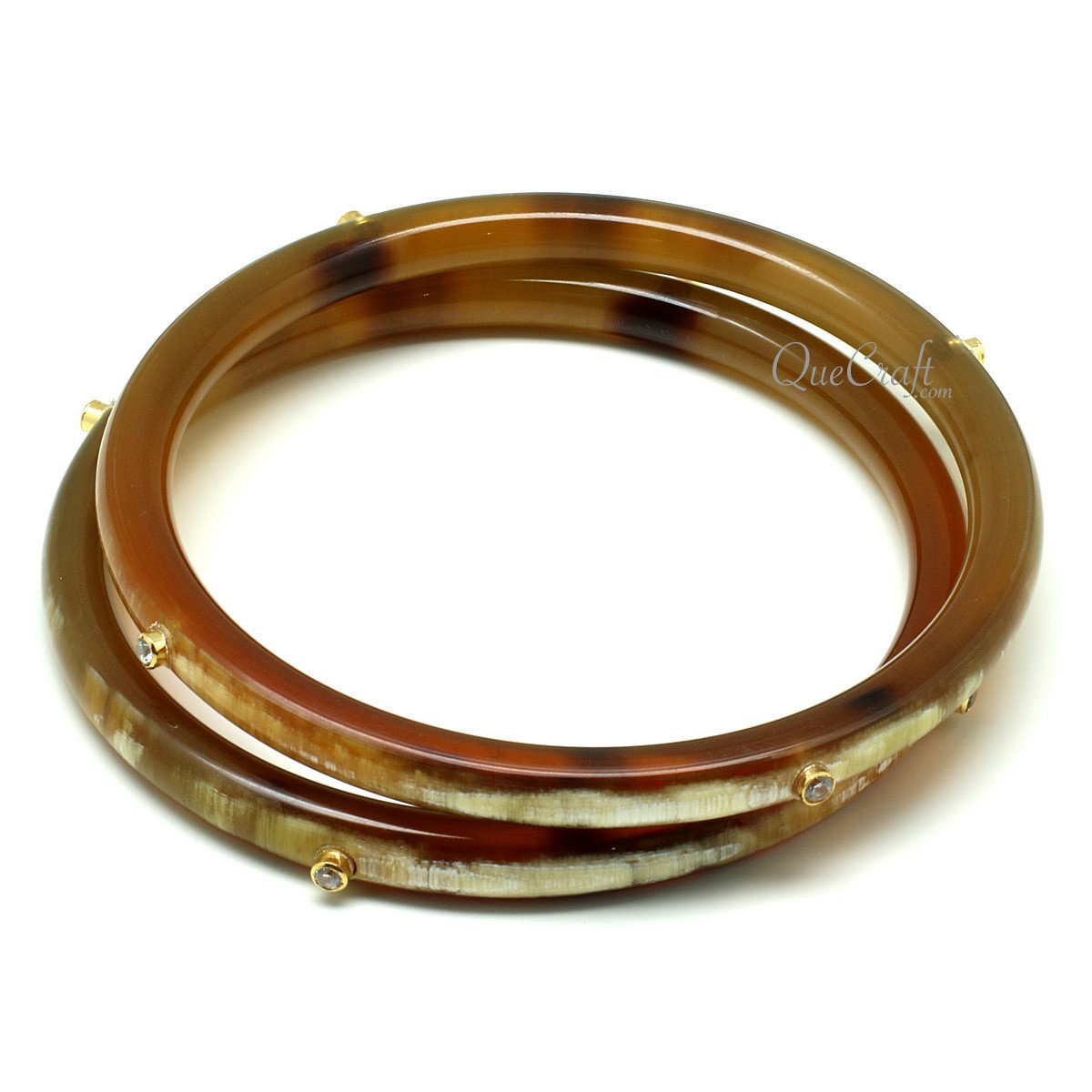 Horn & CZ Bangle Bracelets #11951 - HORN.JEWELRY by QueCraft