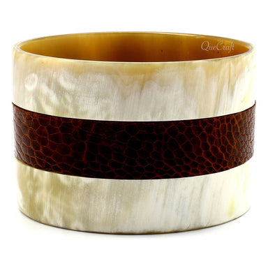 Horn & Leather Bangle Bracelet #8708 - HORN.JEWELRY by QueCraft