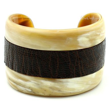 Horn & Leather Cuff Bracelet #11334 - HORN.JEWELRY