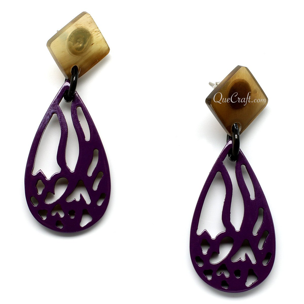 Horn & Lacquer Earrings #11114 - HORN.JEWELRY