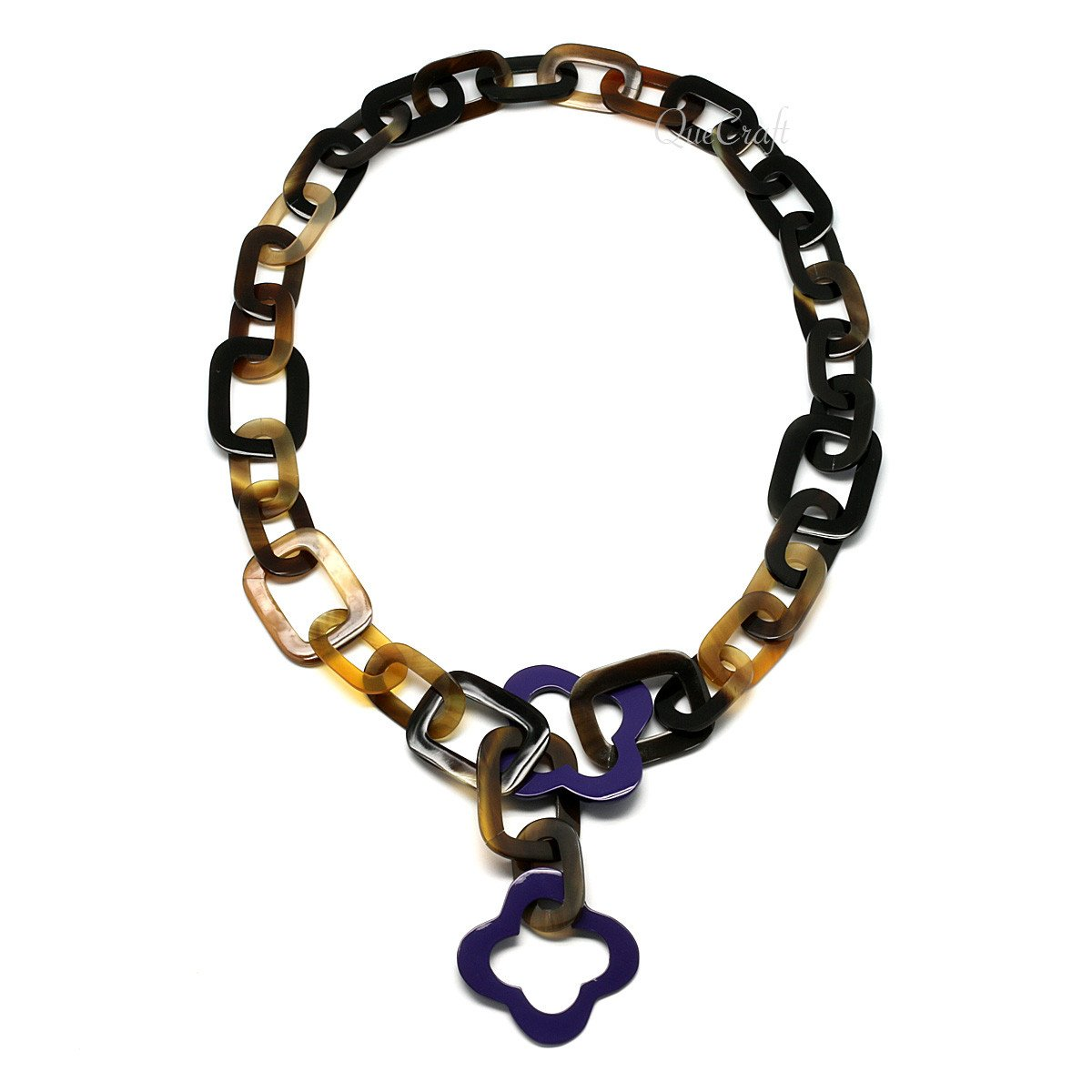 Horn & Lacquer Chain Necklace #4311 - HORN.JEWELRY by QueCraft