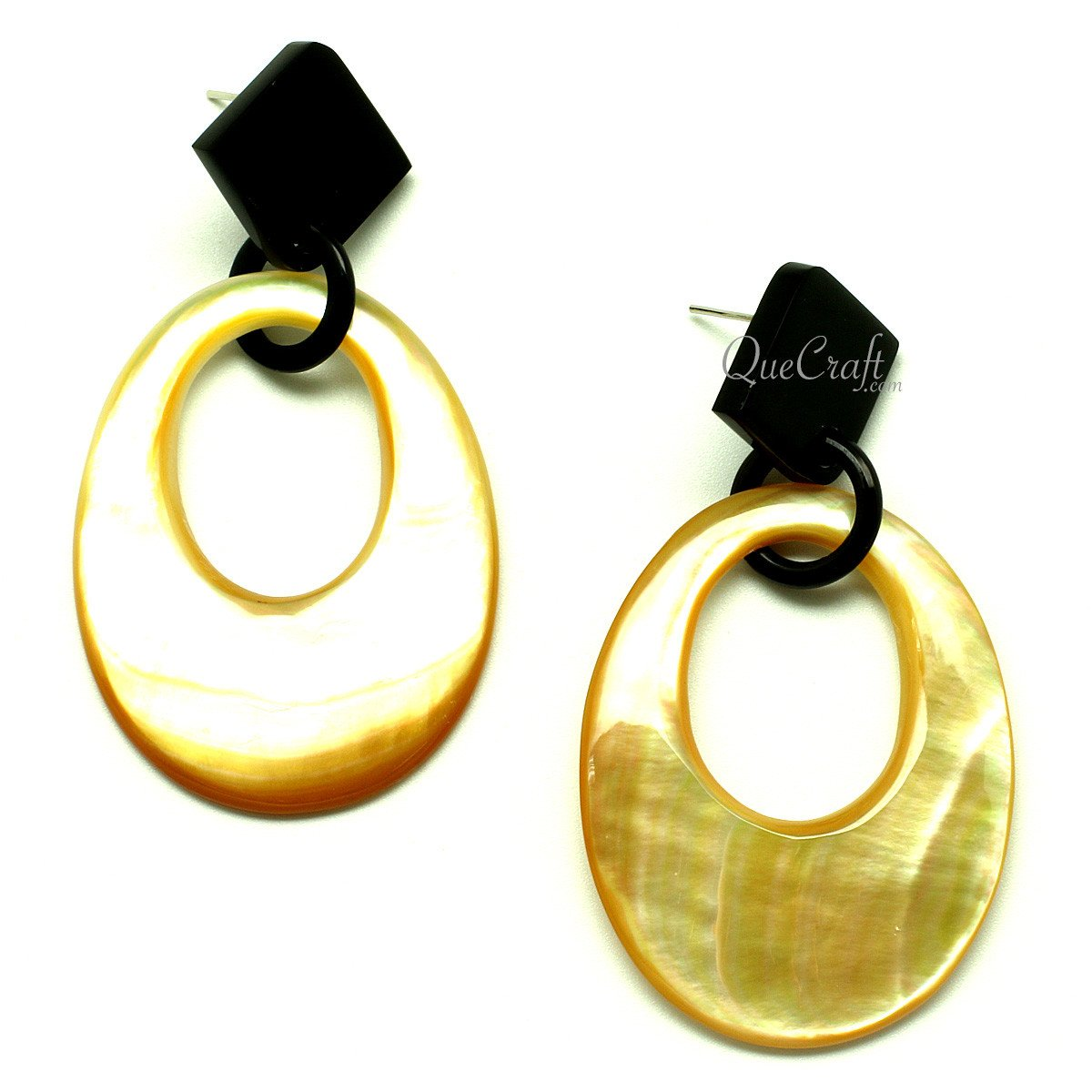 MOP & Horn Earrings #12913 - HORN.JEWELRY by QueCraft