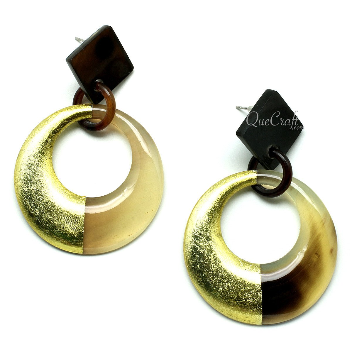 Horn & Lacquer Earrings #11978 - HORN.JEWELRY by QueCraft