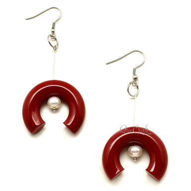 Horn, Lacquer & Pearl Earrings #12193 - HORN.JEWELRY