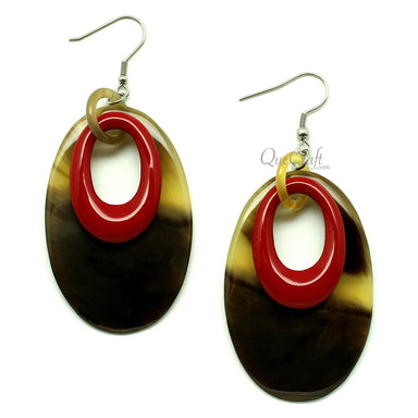 Horn & lacquer Earrings #12866 - HORN.JEWELRY