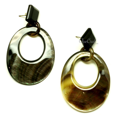 MOP & Horn Earrings #13410 - HORN.JEWELRY
