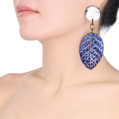 Horn & Lacquer Earrings #13889 - HORN.JEWELRY by QueCraft