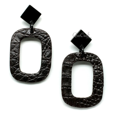 Leather & Horn Earrings - Q11702