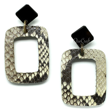Leather & Horn Earrings - Q11722