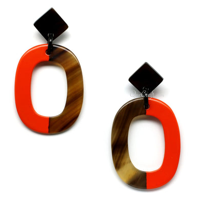 Horn & Lacquer Earrings #11039 - HORN.JEWELRY by QueCraft