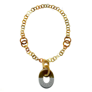 Horn & Lacquer Chain Necklace #9673 - HORN.JEWELRY