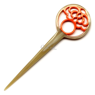 Horn & Lacquer Hair Stick #12604 - HORN.JEWELRY