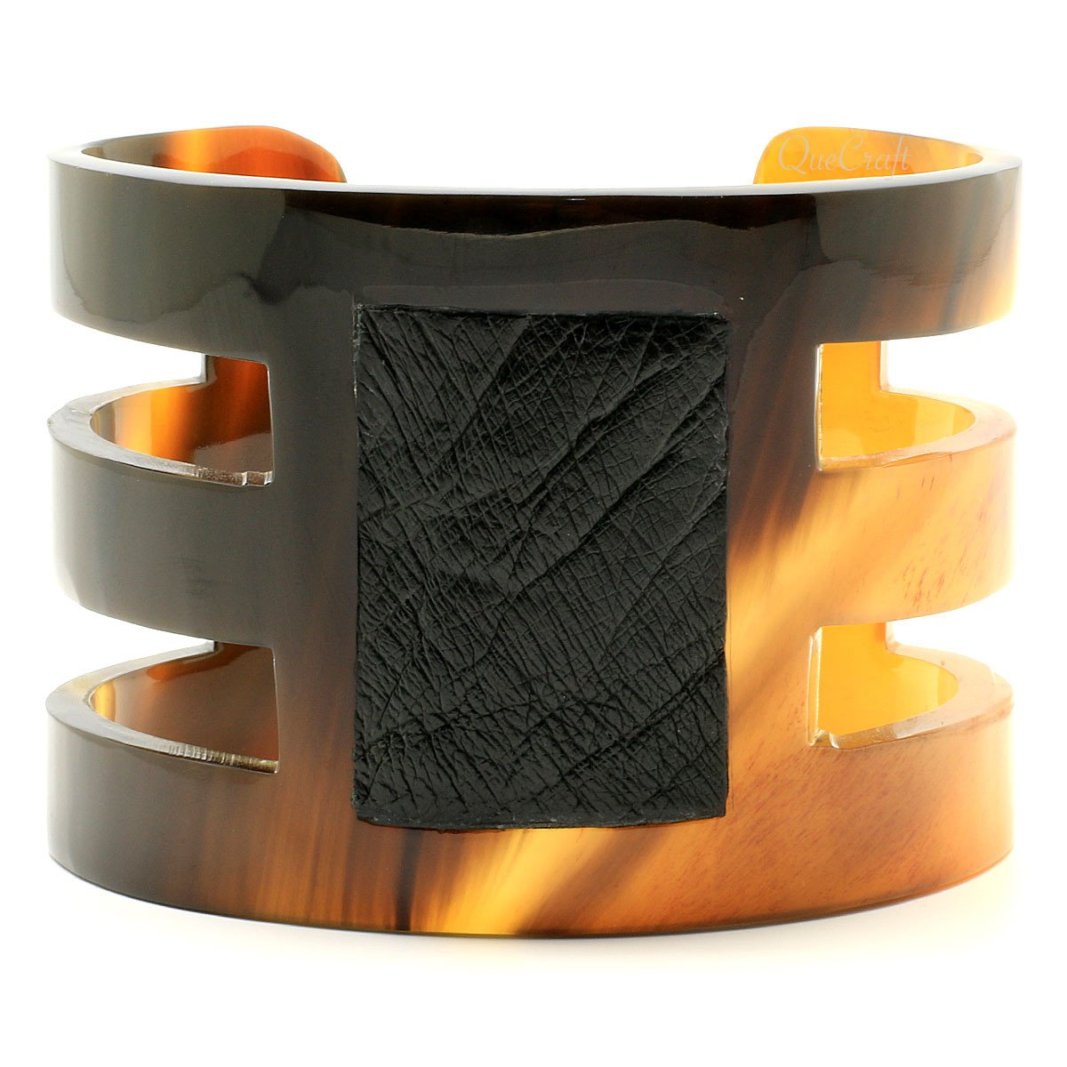 Horn & Leather Cuff Bracelet #6695 - HORN.JEWELRY by QueCraft