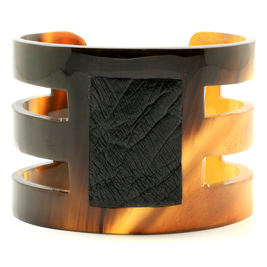 Horn & Leather Cuff Bracelet #6695 - HORN.JEWELRY