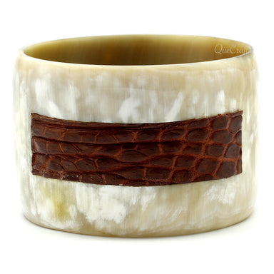 Horn & Leather Bangle Bracelet #9647 - HORN.JEWELRY