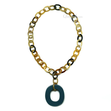 Horn & Lacquer Chain Necklace #11536 - HORN.JEWELRY