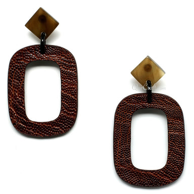 Leather & Horn Earrings - Q11085