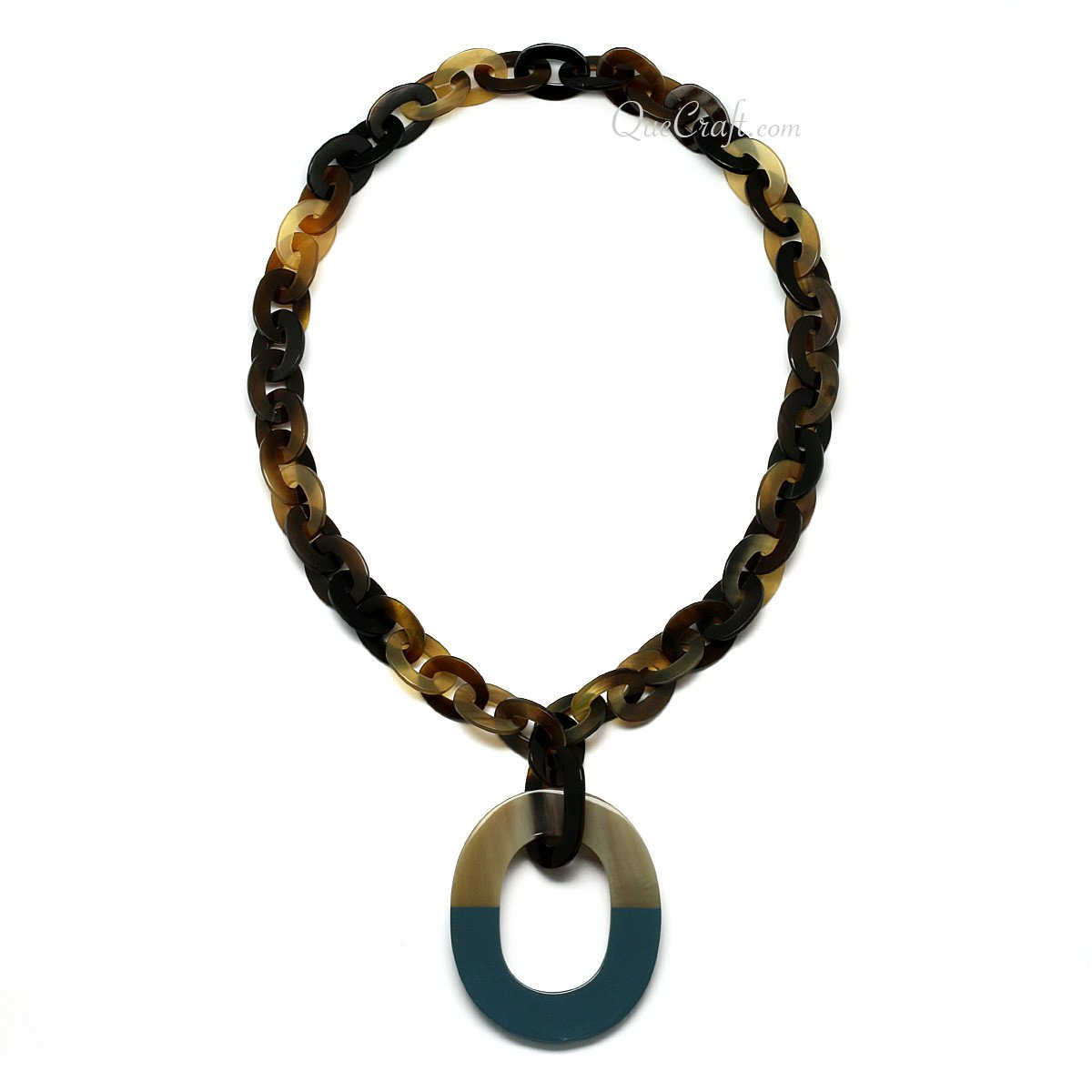 Horn & Lacquer Chain Necklace #10754 - HORN.JEWELRY by QueCraft